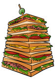 Giant sandwich. Illustration of a giant tower made of sandwich Royalty Free Stock Images