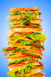 Giant sandwich against   background Royalty Free Stock Images