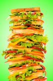 Giant sandwich against gradient Stock Photography
