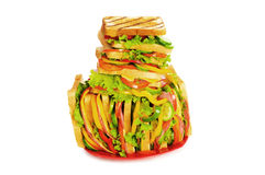 Giant sandwich isolated Royalty Free Stock Photo