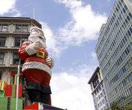 Giant Santa Claus on building Stock Image