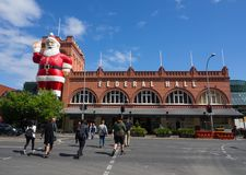Giant Santa Claus sculpture attached on a facade building of of Adelaide Central Market, It is also a popular tourist attraction. royalty free stock image