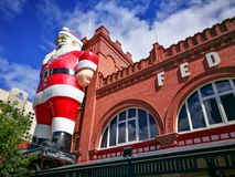 Giant Santa Claus sculpture attached on a facade building of of Adelaide Central Market, It is also a popular tourist attraction. royalty free stock photos