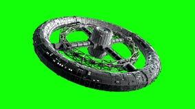 Giant sci-fi torus on green screen
