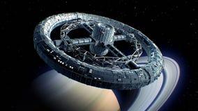 Giant sci-fi torus on Saturn background