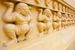 Giant sculptures carved decorative temple, Thailand. Royalty Free Stock Photos
