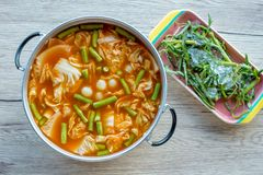 Orange Curry fish eggs with mix vegetable royalty free stock image
