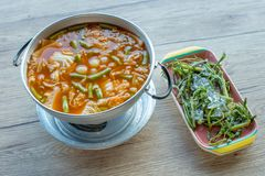 Orange Curry fish eggs with mix vegetable royalty free stock photos