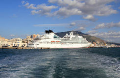 A giant of the sea in Trapani. Cruise ship docked at the port of Trapani - Sicily Stock Photos