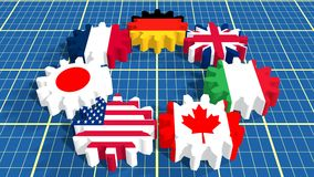 Giant seven members national flags on gears Stock Photography