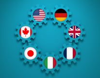 Giant seven members national flags on gears Royalty Free Stock Image