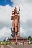 Giant Shiva statue at Grand Bassin lake, Mauritius. Grand Bassin, Mauritius - December 26, 2017: Mangal Mahadev - Shiva Statue, 33 m tall Hindu god, standing at stock image