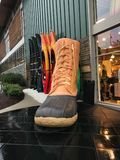 Giant Shoe at L.L. Bean at Legacy Place, Dedham, MA. A Giant Show at L.L. Bean located at Legacy Place in Dedham, MA royalty free stock photo
