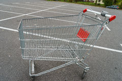 Giant shopping cart. Shopping cart in front of the supermarket Royalty Free Stock Images