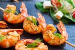 Giant Shrimp skewers. Royalty Free Stock Image