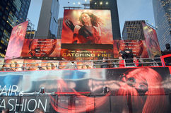 Giant sign of The Hunger Games. NEW YORK USA OCTOBER 27: Giant sign of The Hunger Games: Catching Fire movie in Time Square on October 27, 2013 in New York Stock Photography
