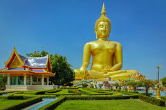 Giant Sitting Buddha Statue. The giant sitting Buddha statue in Angthong, Thailand Royalty Free Stock Images