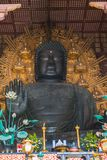 Giant Sitting Buddha Statue. The giant, sitting Buddha statue inside Todaiji Temple Stock Photo