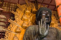 Giant Sitting Buddha Statue. The giant, sitting Buddha statue inside Todaiji Temple Royalty Free Stock Image