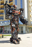 Giant sized scrap metal sculptures. Inspired by Transformers robots royalty free stock photos