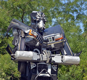 Giant sized scrap metal sculptures. Inspired by Transformers robots stock image