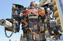 Giant sized scrap metal sculptures. Inspired by Transformers robots royalty free stock photo