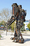 Giant sized scrap metal sculptures. Inspired by Transformers robots royalty free stock images