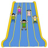 Giant Slides. Children sliding over a huge giant slide Stock Illustration