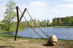 Giant slingshot - art object of city landscape design  in northern Russia Stock Image