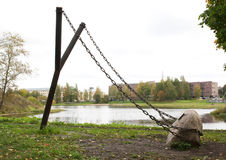 Giant slingshot - art object of city landscape design Royalty Free Stock Photo