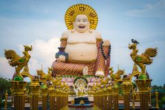 Giant smiling or happy buddha statue in buddhist temple  wat pl Royalty Free Stock Photography