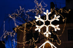 Giant Snowflake. A giant Christmas snowflake on the Old Town Square in Prague, Czech Republic stock images