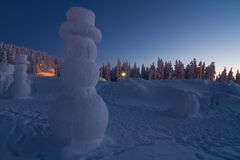 Giant snowman in winter wonderland Royalty Free Stock Images