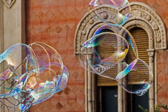 Giant soap bubbles and historic building Stock Image