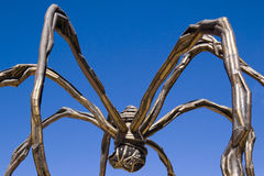 The giant spider Mama, by Louise Bourgeois. Bronze sculpture of a spider by Louise Bourgeois close to the Guggenheim museum in Bilbao Royalty Free Stock Image