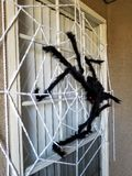 Giant Spider and Web Halloween Decor stock photography