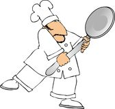 Giant spoon. This illustration depicts a chef holding a large spoon Stock Photos