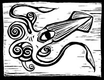 Giant Squid. Retro woodcut image of a giant squid swimming royalty free illustration