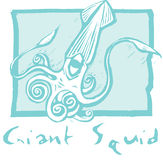 Giant Squid in Blue Royalty Free Stock Photography