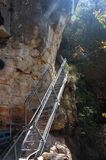 The Giant Stairway in Blue Mountains, Katoomba, Australia. The Giant Stairway provides a spectacular entry to the Jamison Valley, descending  more than 800 Stock Images
