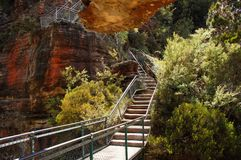 The Giant Stairway in Blue Mountains, Katoomba, Australia. The Giant Stairway provides a spectacular entry to the Jamison Valley, descending  more than 800 Royalty Free Stock Image