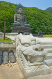 Giant statue of Buddha and memorial plates in the Sinheungsa. Temple in Seoraksan National Park, South korea Stock Photos