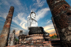 Giant statue of Buddha  in Wat Mahathat , Sukhothai , Thailand. Royalty Free Stock Images