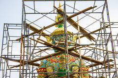 Giant statue with construction scaffolding Royalty Free Stock Photos
