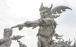 Giant Statue Decoration in Church of Wat Rong Khun Stock Images