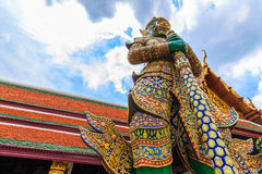 A giant statue of Ravana at a high angle. A giant statue of Ravana Temple of the Emerald Buddha in Thailand Royalty Free Stock Image