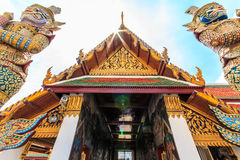A giant statue of Ravana was watched metering. A giant statue of Ravana Temple of the Emerald Buddha in Thailand stock photography