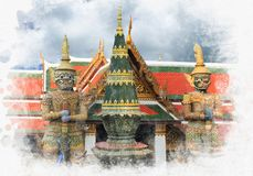 Giant statues are guardian at Grand Palace in Bangkok. Giant statues are guardian at Grand Palace landmark of Thailand in Bangkok water color paint style,Public stock photography
