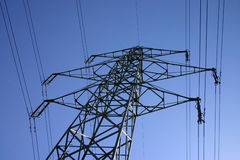 Giant of steel. Pylone/Tower providing electricity for a residential area stock images