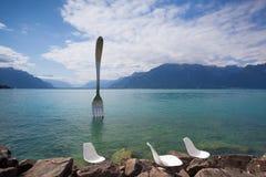 Giant steel fork in water of Geneva lake, Vevey, Switzerland Stock Image